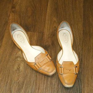 Tod's Tan Leather Slip In Flats sz 37 / 7